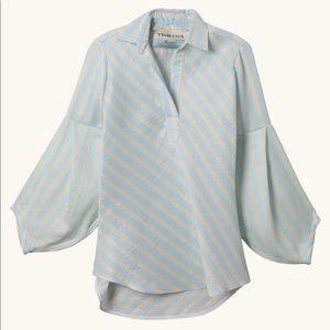 Tish Cox blue/ivory stripe top.  NWT!